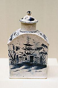 青花宝塔纹釉陶茶叶罐