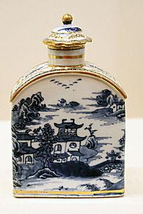 青花描金山水纹茶叶罐