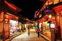 丽江古城街景灯光