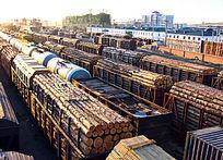 满洲里口岸 进口木材的列车