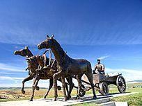 俄罗斯风格的三套车雕塑