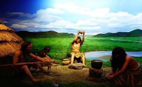 哈克先民在石器时代 蜡像