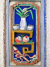 白族民居泥塑装饰画 花瓶