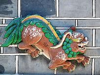 白族民居泥塑装饰画 狮子