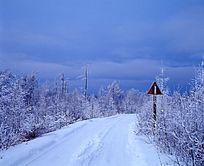 覆盖白雪的公路