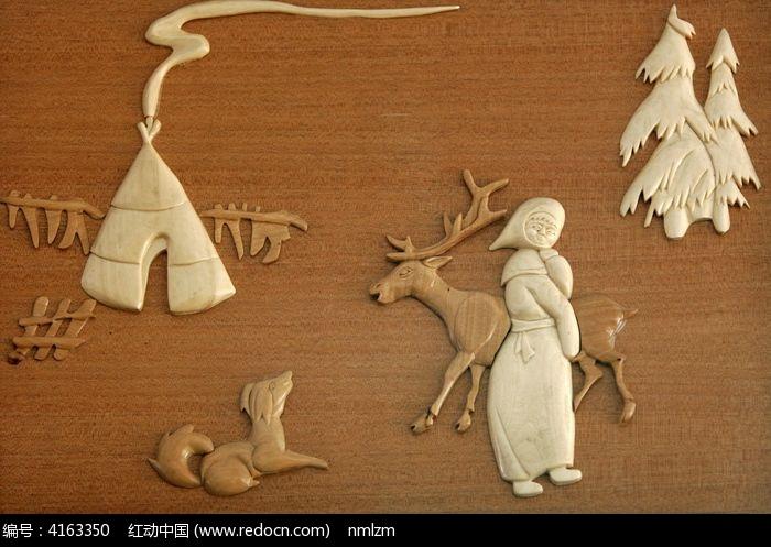 手工木刻画 猎乡风情