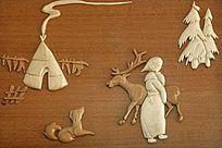 手工木刻画《猎乡风情》