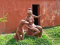 大河村遗址妇女和狗雕塑