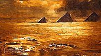 金字塔风景油画
