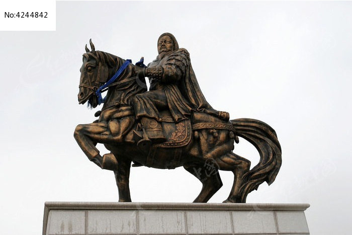 成吉思汗骑马铜雕像图片
