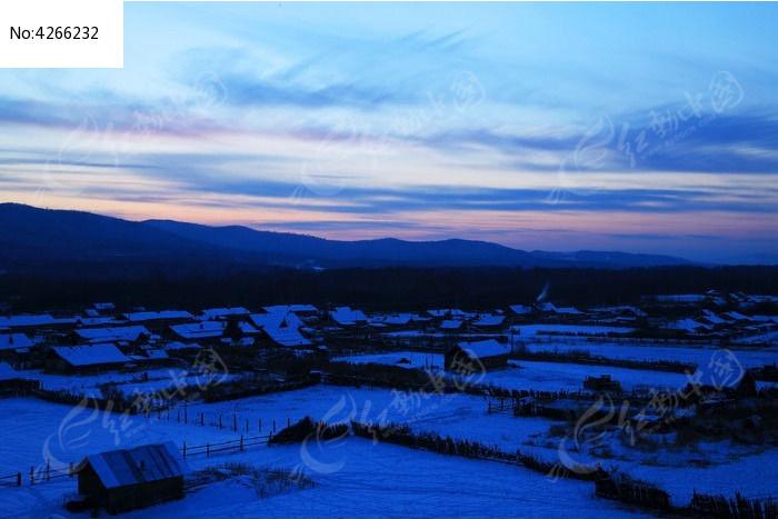 边塞村庄暮色风景图片,高清大图_乡村小镇素材