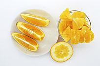 橙子块瓣皮俯拍