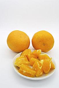 两个橙子和橙子块