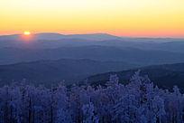 落日下的雪色林海