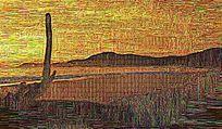 刺绣风景油画