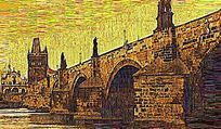 风景桥梁油画