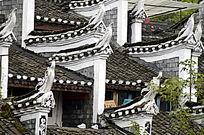 湖南湘西凤凰古城古建筑外观特写图