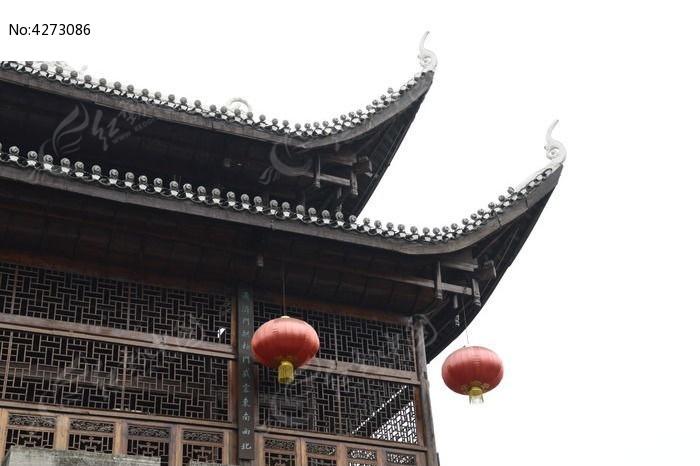 湖南湘西乾州古城古建筑吊脚楼特写图片图片