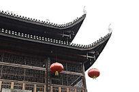 湖南湘西乾州古城古建筑吊脚楼特写图片