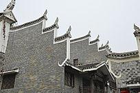 湖南湘西乾州古城古老建筑外观特写图