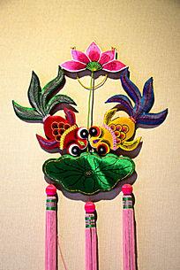 双鱼莲花图案荷包