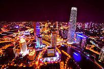 天津城市中心区夜景高空俯瞰