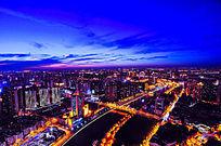 天津城市中心区夜景高空俯瞰-海河两岸