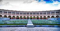 天津民园体育场内景-连续的拱门与大台阶