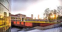 天津民园体育场内景-特色石拱门