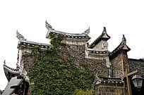 湖南湘西乾州古城古老建筑外观特写