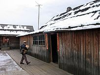 华俄后裔家庭孩子在抱柈子