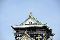 大阪城顶部结构特写