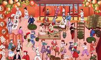 茶文化艺术插画