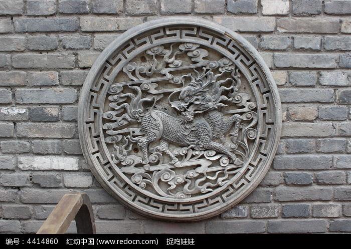 砖雕仙鹤寿桃图