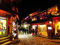 丽江古城夜色下的商业街