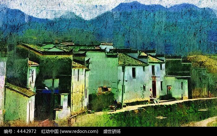 乡村建筑风景图片,高清大图_插画绘画素材