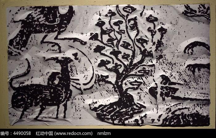黑白木刻版画鹿