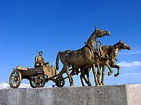 俄罗斯民族乡三套车雕塑