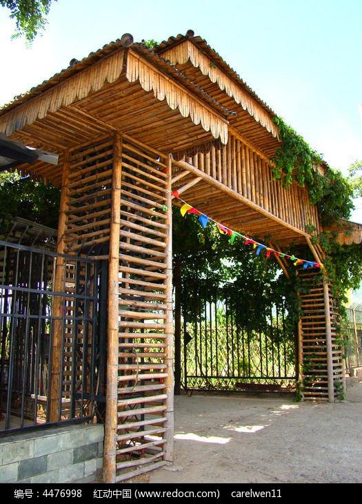 竹子做的大门图片,高清大图_乡村小镇素材