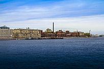 俄罗斯港口码头和海港的建筑群风光