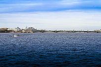 圣彼得堡的海港桥梁风光