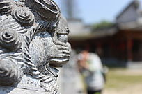 雕刻狮子面部特写