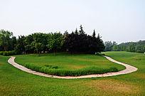 高尔夫球场草地上曲折的石板路