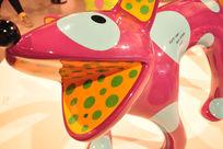 草间弥生我的一个梦展览之波点粉红色小狗