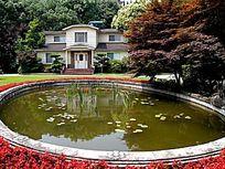 池塘中的别墅倒影