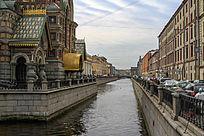 基督复活教堂建筑风光和景观河道风光