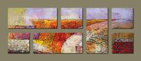 组合抽象油画背景墙