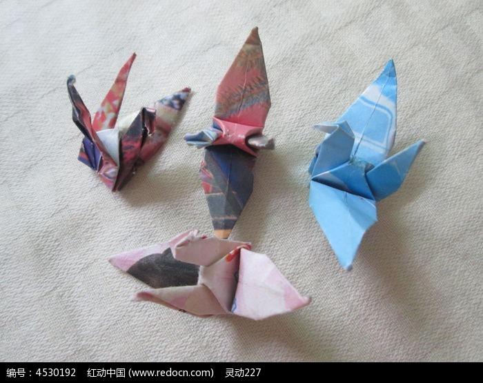 四只纸质千纸鹤图片,高清大图_手工艺品素材