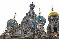 俄罗斯圣彼得堡基督复活教堂建筑顶部