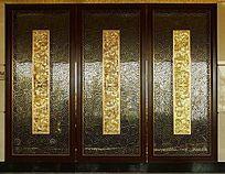 高档的实木木雕玻璃一体门